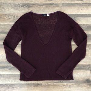 BDG Purple/Maroon Deep V Neck Knit Sweater